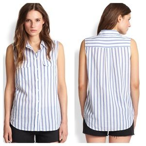 Equipment Cinema Striped Cotton Sleeveless Shirt